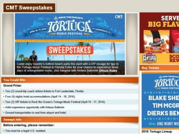 """The CMT """"Rock the Ocean's Tortuga Music Festival"""" Sweepstakes"""