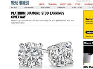 Mens Fitness Platinum Diamond Stud Earrings Giveaway Sweepstakes