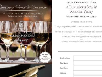 Williams-Sonoma Coming Home to Sonoma Sweepstakes