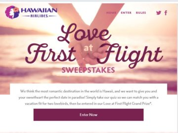 Hawaiian Airlines Love at First Flight Sweepstakes