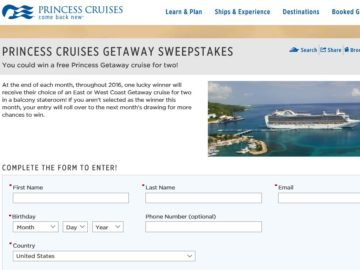 The 2016 Princess Cruises Getaway Sweepstakes
