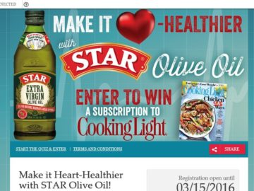 Cooking Light Magazine 6-Month Subscription Sweepstakes