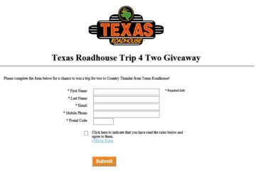 The Texas Roadhouse Trip 4 Two Giveaway Sweepstakes