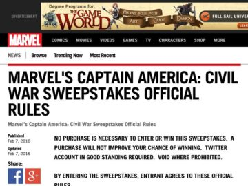 The Marvel's Captain America: Civil War Sweepstakes