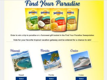 Sunsweet Growers  Find Your Paradise Sweepstakes