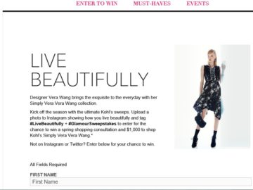 Glamour Kohl's Simply Vera Live Beautifully Sweepstakes