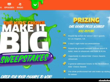 The Nickelodeon Kids' Choice Make It Big Sweepstakes