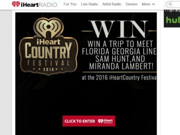 iHeartRadio Win a Trip to the 2016 iHeartRadio Country Festival Sweepstakes