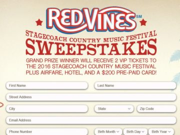 The RED VINES Stagecoach Country Music Festival Sweepstakes