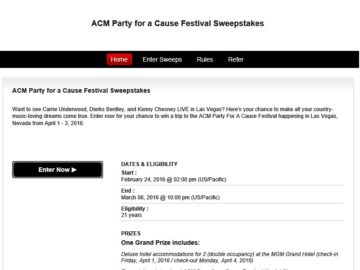 The ACM Party for a Cause Festival Sweepstakes