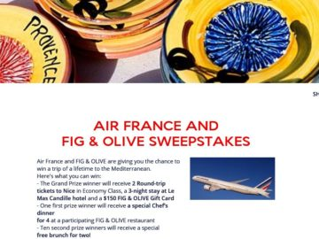 The Air France + Fig & Olive Sweepstakes