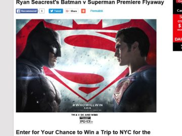 "Ryan Seacrest's ""Batman vs. Superman: Dawn of Justice"" Premiere Sweepstakes"