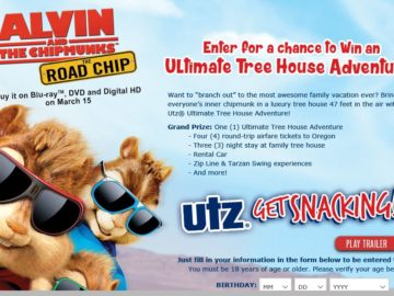 Tree House Adventure with Alvin and the Chipmunks: Road Chip! Sweepstakes