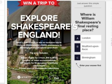 VisitBritain – Explore Shakespeare's England Sweepstakes