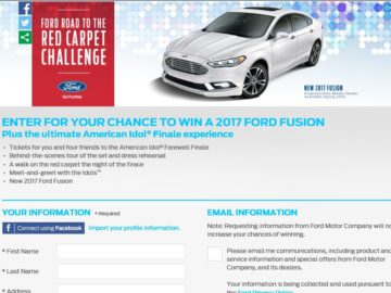 The Ford Road to the Red Carpet Challenge Sweepstakes