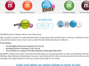The My M&Ms Ellen Tickets Sweepstakes
