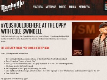 #YouShouldBeHere at the Opry with Cole Swindell Giveaway Sweepstakes