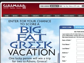 The Cinemark Big Fat Greek Vacation Sweepstakes