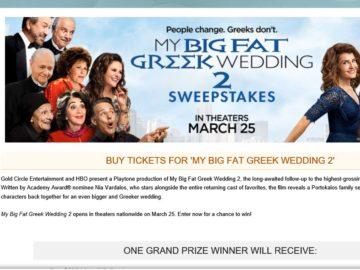 "The MovieTickets.com ""My Big Fat Greek Wedding 2"" Sweepstakes"