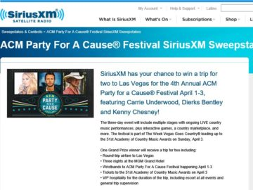 ACM Party For A Cause Festival SiriusXM Sweepstakes