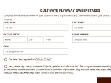 The Chipotle Cultivate Flyaway Sweepstakes