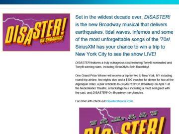 DISASTER! On Broadway SiriusXM Sweepstakes