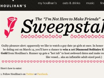 The Houlihan's Restaurants 'I'm Not Here to Make Friends' Sweepstakes