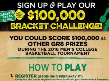 Quaker Steak & Lube $100,000 Bracket Challenge Sweepstakes – Select States