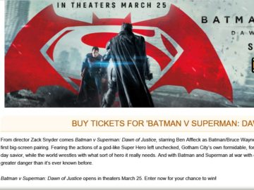 "MovieTickets.com's ""Batman v Superman: Dawn of Justice"" Sweepstakes"