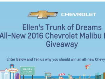 Ellen's Trunk of Dreams 2016 Chevy Malibu Giveaway! Sweepstakes