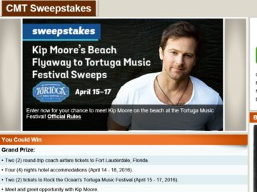 """The CMT """"Kip Moore's Beach Flyaway to Tortuga Music Festival"""" Sweepstakes"""