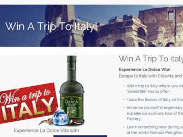 Escape to Italy with Colavita and Baci Perugina Sweepstakes