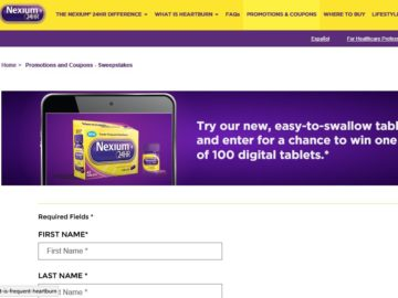 "The NEXIUM 24HR ""Win A Tablet"" Sweepstakes"