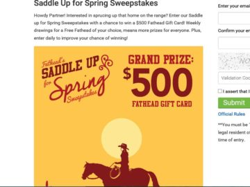 Fathead's Saddle Up for Spring Sweepstakes