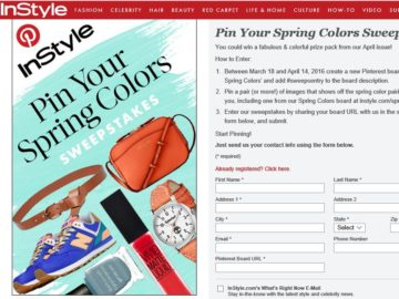 InStyle's Pin Your Spring Colors Sweepstakes