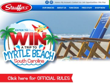 The STAUFFER'S Win a Trip to Myrtle Sweepstakes