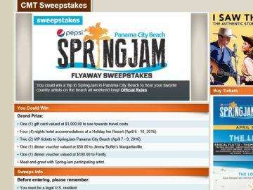 "The CMT ""SpringJam Panama City Beach"" Sweepstakes"