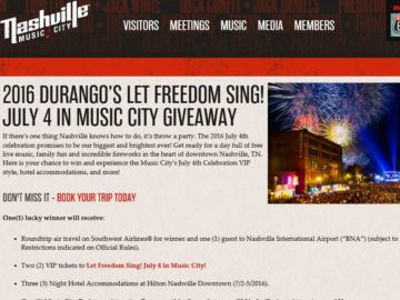 Nashville Music City Durango's July 4th in Nashville Giveaway Sweepstakes