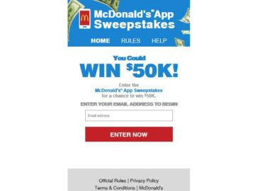 2016 McDonald's App Sweepstakes