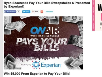 Experian Ryan Seacrest's Pay Your Bills Sweepstakes