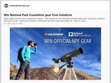 NationalPark Foundation Gear from Celestron Sweepstakes