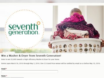 Seventh Generation Washer & Dryer Sweepstakes