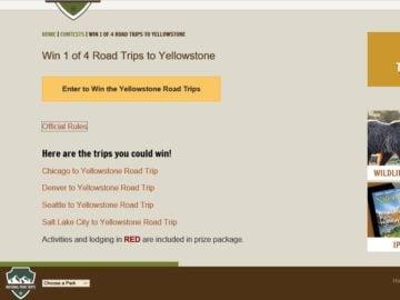 Yellowstone Trip Sweepstakes
