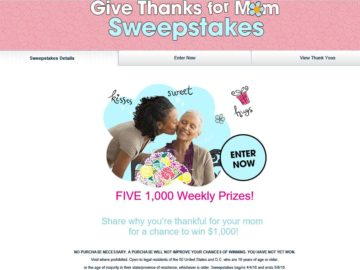 The Valpak Give Thanks for Mom Sweepstakes
