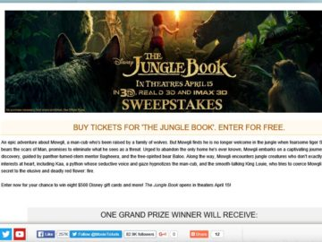 """The MovieTicket.com """"The Jungle Book"""" Sweepstakes"""