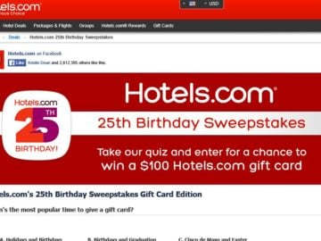 The Hotels.com 25th Birthday Sweepstakes