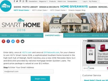 Hgtv Smart Home Giveaway Sweepstakes