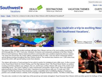 Southwest Vacations New Orleans Sweepstakes