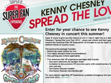 "Super 8 Kenny Chesney ""Spread the Love"" Super Fan Experience Sweepstakes"