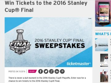 The TicketMaster 2016 Stanley Cup Final Sweepstakes